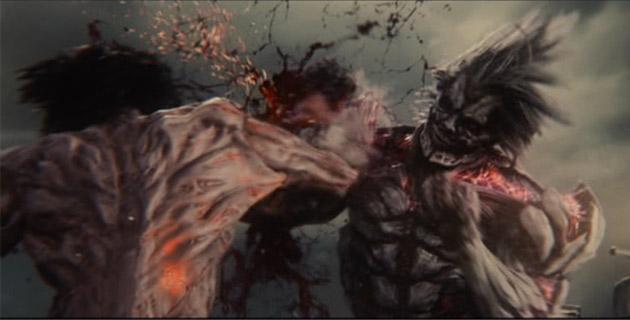 実写版 進撃の巨人の巨人同士が戦っている時の写真